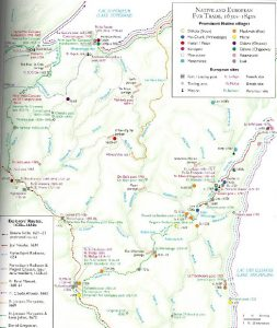 Above:  A map of fur posts in Wisconsin through the years of the fur trade from the book Wisconsin's Past and Present: A Historical Atlas put out by the Wisconsin Cartographers' Guild